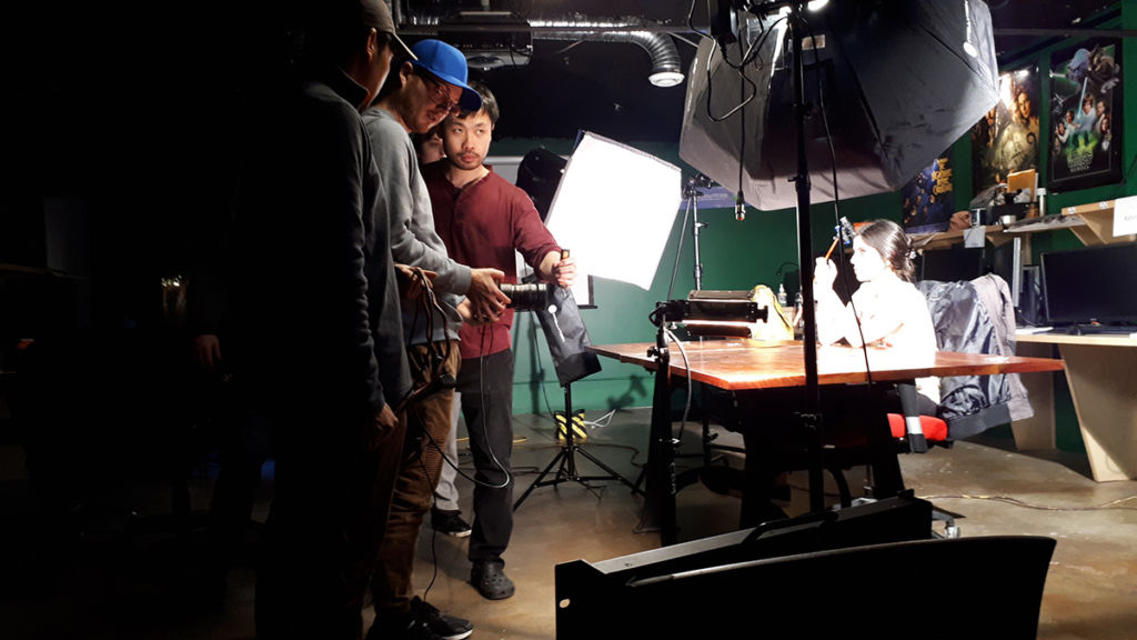 vfx students shooting footage for project